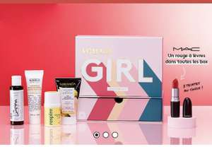 Box de produits de beauté Birchbox (5 miniatures + rouge à lèvres MAC) + carte-cadeau de 15€ à valoir chez MAC Cosmetics - sans engagement