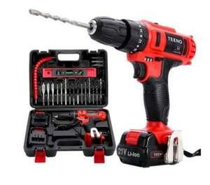 Perceuse visseuse sans-fil Teeno PSR (21V) + 2 batteries lithium + 41 accessoires + gants professionnels (Vendeur Tiers)