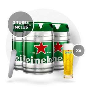 Pack de 3 fûts Heineken + 6 verres + 1 coupe mousse