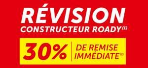 30% de réduction sur les révisions constructeur en centre auto Roady