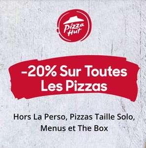 20% de réduction sur toutes les Pizzas (Hors La Perso, Pizzas Taille Solo, Menus et The Box)