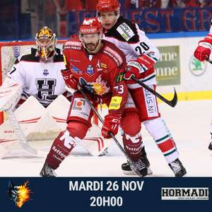 Place à tarif unique pour le match de Hockey Grenoble-Anglet le Mardi 26 Novembre