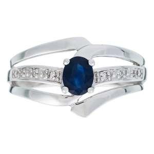 """Bague Or Blanc 375 """"BLUE QUEEN"""" Diamants 0,03 carat et Saphirs 0,57 carat"""