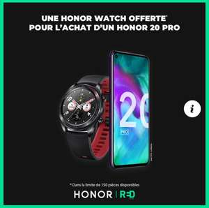 "Pack smartphone 6.26"" Honor 20 Pro (full HD+, Kirin 980, 8 Go de RAM, 256 Go) + montre connectée Honor Watch"