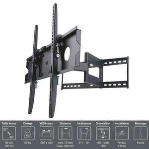 """Support TV Mural Inotek PRO M1 3265 compatible 32 à 65"""" - Inclinable / Orientable"""
