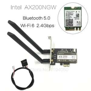 Carte WiFi 6 AX PCIe - Intel AX200NGW, 2.4GHz / 5GHz, 802.11AC/AX, Bluetooth 5