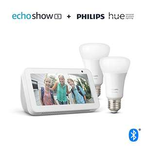 Assistant vocal Echo Show 5, Blanc + 2 Philips Hue White - Bluetooth