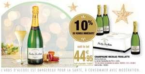 Lot de 3 bouteilles de champagne Nicolas Feuillatte (Brut ou demi-sec)
