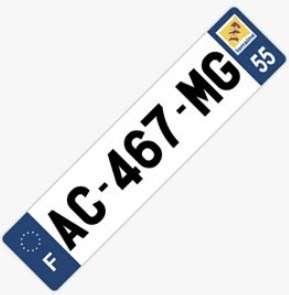 Plaque immatriculation auto plexiglass