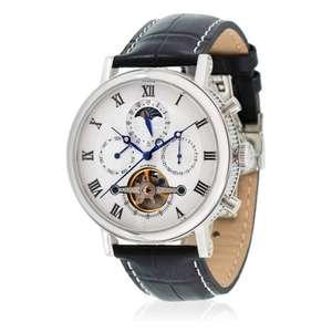 Montre Automatique Louis Cottier HS3370C3BC1 - 42 mm, Blanc boitier argenté, Bracelet noir