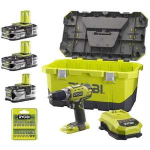 Perceuse Visseuse Ryobi ONE+ 18V RCD18LLL99T + 3 Batteries Lithium (2x1.5Ah + 4.0Ah) + 40 accessoires - Reconditionné