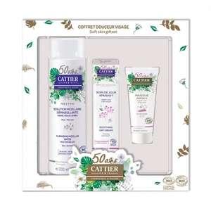 Coffret Cattier pour le visage : 1 solution micellaire démaquillante, 1 crème de jour et 1 masque à l'argile rose