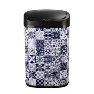 [CDAV] Poubelle automatique Kitchen Move - 58L, motif carreaux de ciment bleu et blanc