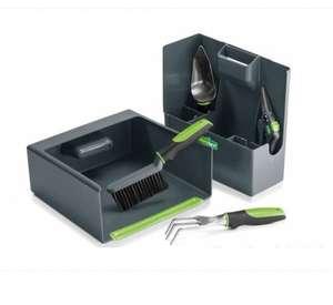 Boîte à outils de jardin + un transplantoir, une griffe, un sécateur, une balayette