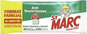 Lot de 2 paquets de 66 lingettes antibacteriennes St Marc (132 lingettes)