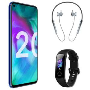 "Smartphone 6.26"" Honor 20 Bleu (FHD+, Kirin 980, RAM 6 Go, 128 Go) + Écouteurs bluetooth Honor Sport Pro + Bracelet connecté Honor Band 5"