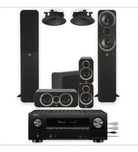 Pack Ampli Denon AVR-X3600H - 9.2 Channel 4K AV Receiver + 2 Enceintes colonne Q Acoustics 3050i 5.1 + Paire d'enceintes Qi65C + QED QE5300