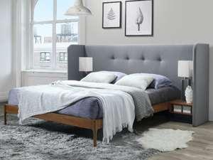 Lit avec tête de lit capitonnée, chevets suspendus et sommier Savino - 160x200 cm, Gris et noyer (Frais de port inclus)