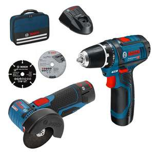 Pack d'outils Bosch Professional - meuleuse d'angle GWS 12V-76 + viseuse GSR 12V-15 - avec 2 batteries (2.0 Ah) + chargeur - MyToolStore.fr