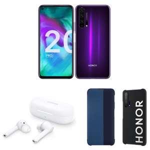 "Sélection de Smartphones - Ex: 6.26"" Honor 20 Pro - Full HD+, Kirin 980, RAM 8 Go, 256 Go + Écouteurs bluetooth Magic Earbuds + Coque + Etui"