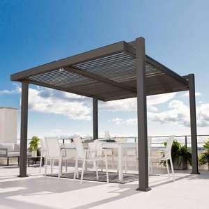 Tonnelle autoportante Persea - Aluminium gris foncé (11.52 m²)