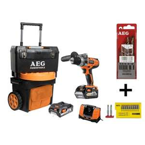 Perceuse visseuse à percussion AEG 18V Li-Ion + 1 batterie 4.0Ah + 1 batterie 2.0Ah + Trolley + Chargeur + Accessoires (BSB18CLI-X02T)