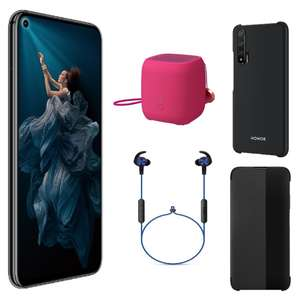 Sélection de smartphones - Honor 20, FHD+, Kirin 980, RAM 6 Go, 128 Go (Bleu ou Noir) + Mini Enceinte BT + Écouteurs BT + Coque + Etui