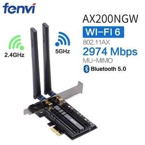 Carte d'Extension PCIe Fenvi WiFi 6 FV-AX3000 avec Antennes & Dissipateur - 802.11ax, 2400Mbps, MU-MIMO, Bluetooth 5.0