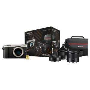 Appareil photo Hybride Panasonic Lumix GX9 + 3 Objectifs (12-32 mm f/3.5-5.6 + 35-100 mm f/4.0-5.6 + 25 mm f/1.7) + Sacoche + Carte SD 16 Go