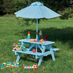 Ensemble set pique-nique enfant : Table, bancs et parasol - Coloris au choix - Magasins Cocktail Scandinave