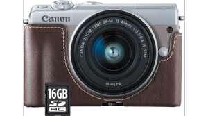 Kit appareil photo numérique Canon EOS M100 (24.2 Mpix, CMOS, flash) + objectif EF-M 15-45 mm + étui + carte SD (16 Go) - vendeur Boulanger