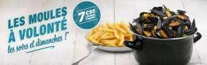 Menu Moules & frites à volonté les soirs et dimanches