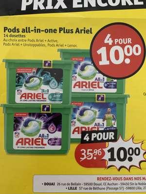 Lot de 4 boîtes de lessive tout-en-un Ariel Pods Plus - 56 doses - Lille, Hazebrouck, Douai (59)
