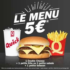 Menu hamburger Double Cheese + petite frite ou petite salade + petite boisson (20/33 cl)