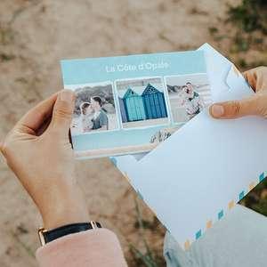 Carte postale physique (10 x 15 cm) personnalisée et envoyée gratuitement partout dans le monde