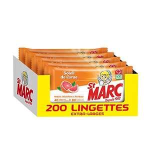 Lot de 5 paquets de 40 Lingettes Desinfectantes et Nettoyantes St Marc - Parfum Agrumes Soleil de Corse, 200 lingettes