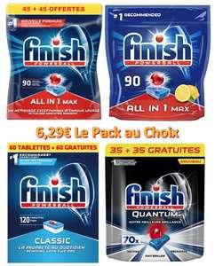 "Pack de 90 Tablettes lave-vaisselle ""Finish Powerball All-in-One Max"" - Différentes Variétés"