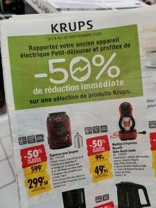 [Sous conditions] 50% de réduction immédiate sur une sélection de produits Krups - Ex: Expresso Krups YY4455FD