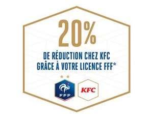 [Licence FFF] 20% de réduction pour toute commande dans les restaurants KFC
