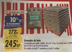 Palette de 70 sacs de granulés de bois - 70 x 15 kg (Via 27.23€ sur la carte fidélité)
