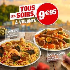 Paëlla à volonté le soir du lundi au mercredi & Couscous à volonté le soir du jeudi au dimanche