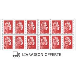 Livraison gratuite pour l'achat d'un carnet de 12 ou 20 timbres rouges ou verts Marianne