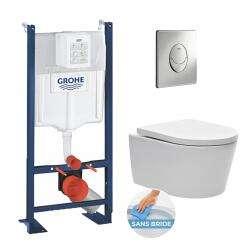 Pack WC autoportant Gröhe WC Rapid SL - avec plaque de commande Skate Air chrome - Livea.fr