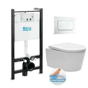 Pack Roca Bâti - support Roca Active + WC sans bride et fixations invisibles + plaque blanche