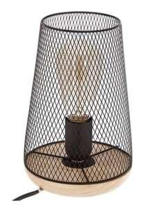 Lampe en métal et bois - H. 23 cm, Noir