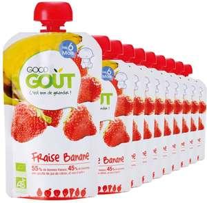 Lot de 10 gourdes Good Goût BIO - Purée de Fruits Fraise Banane dès 6 Mois, 10x120g