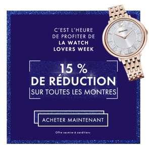 15% de réduction sur les montres