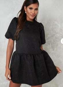 Robe smockée en brocart noir oversize à manches bouffantes pour Femme - Tailles 34 à 42