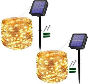 Lot de 2 Guirlandes lumineuses Extérieur Solaire, 12M 120 LED Guirlande (vendeur tiers)