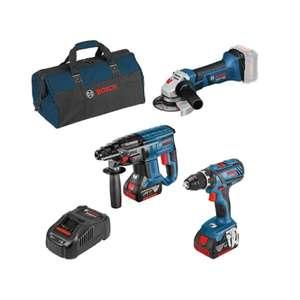 Set 3 outils Bosch 18V : Perceuse-visseuse GSR 18V-28 + Marteau-perforateur GBH 18V-21 + Meuleuse angulaire GWS 18V-Li + 2 batteries 5.0Ah